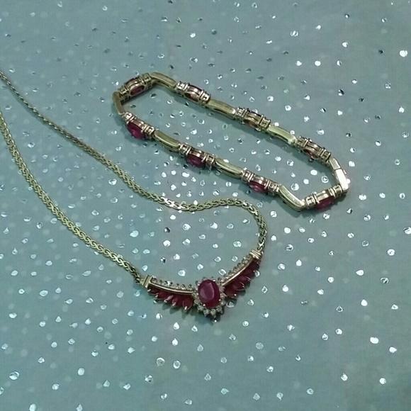 4775d3c2514a6 14K Yellow Gold Ruby & Diamond Demi Parure Set